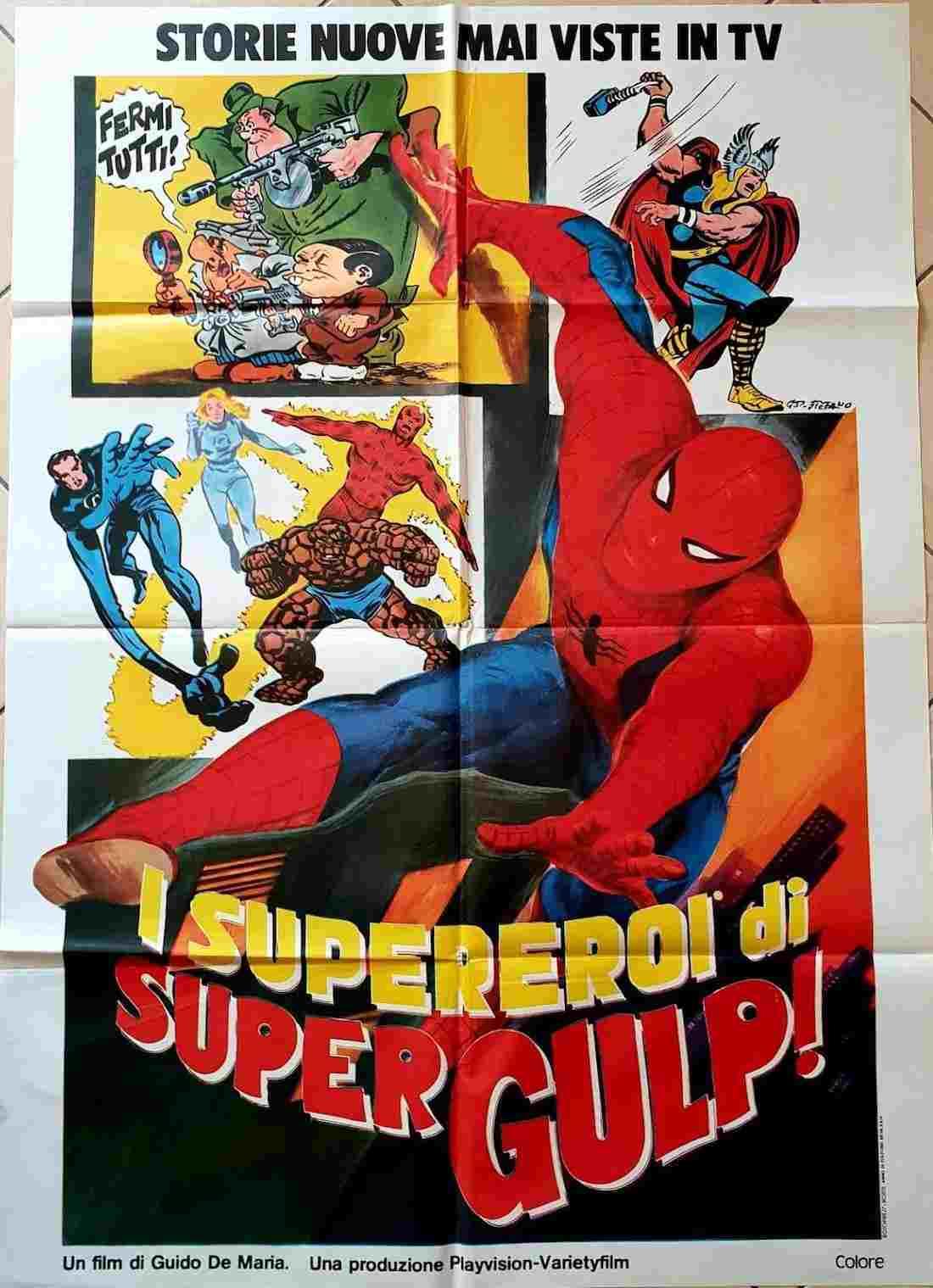 manifesto i supereroi di Supergulp